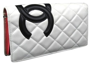 Chanel Chanel Cambon Quilted White Black Ligne Leather CC Monogram Wallet.