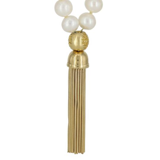 "Light By Debra Skyler Light By Debra Skyler 40"" Pearl Mala Vermeil Tassel and Patterned Bead Necklace"