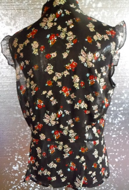 New York & Company Sheer Cap Sleeve Lace Detail Pin Tuck Top Chocolate with vintage flower print