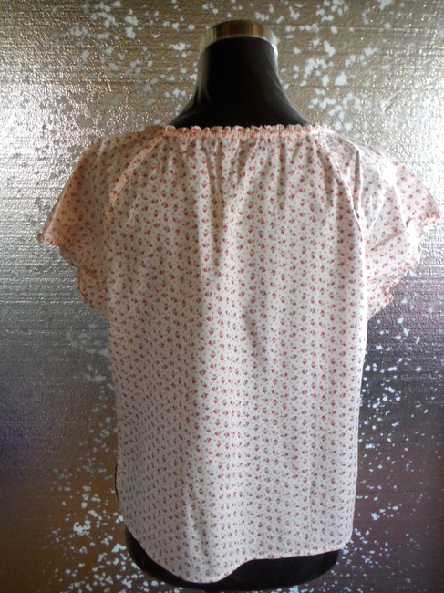 American Eagle Outfitters Inspired Cotton Keyhole Top Blush with vintage pink and rose print