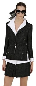 Chanel AUTH CHANEL S/S 2007 CLASSIC 3 PIECE SKIRT SUIT JACKET TOP VEST FRAYED BOUCLE 40