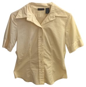 New York & Company Button Down Shirt Yellow