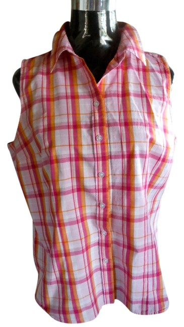 Izod Sleeveless Button Up Top Vintage inspired pink and orange plaid