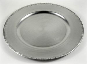 Charger Plates Silver W/ Beaded Edge 13in (set Of 48)