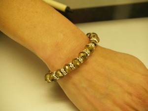 Antique Gold Tone Bracelet With Silver Rhinestones