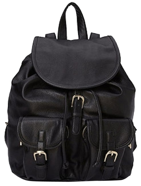 Item - Black Faux Leather Backpack