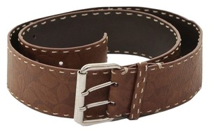 Céline Celine Brown Leather Belt Silver Buckle Wide Floral Sz L DoPEEK!