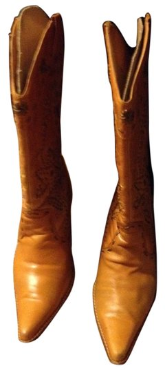 Bakers Leather Weaved Bronze Leatherstrips Distressed Caramel Boots
