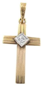 14K SOLID ROSE GOLD PENDANT CROSS 1.9 GRAM 1 DIAMOND .05 CARAT NO SCRAP JEWELRY
