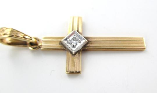 Other 14K SOLID ROSE GOLD PENDANT CROSS 1.9 GRAM 1 DIAMOND .05 CARAT NO SCRAP JEWELRY