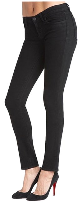 Item - Black Coated Pencil Low Rise Slim Fit In Shadow. Style # 7011c006. Skinny Jeans Size 27 (4, S)