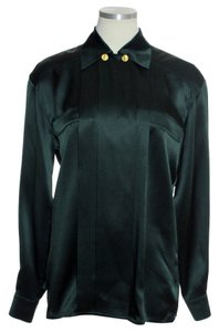 Escada 100% Silk Button Down Shirt Dark Green