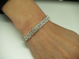 A Bracelet One Single Line Of Silver Rhinestones