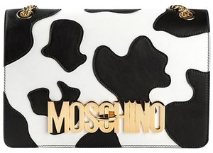 Moschino Cow Print Leather Shoulder Bag