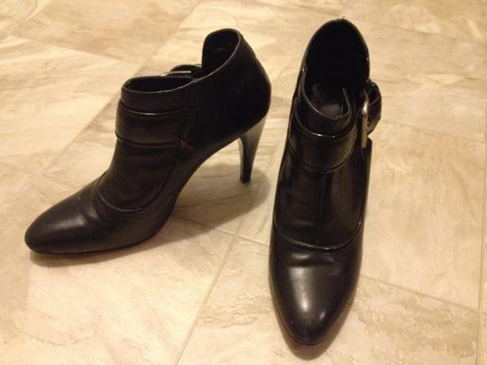 Nine West Leather Patent Leather Trim Antique Silver Buckle Shiny Patent Leather Like Heels Black Boots