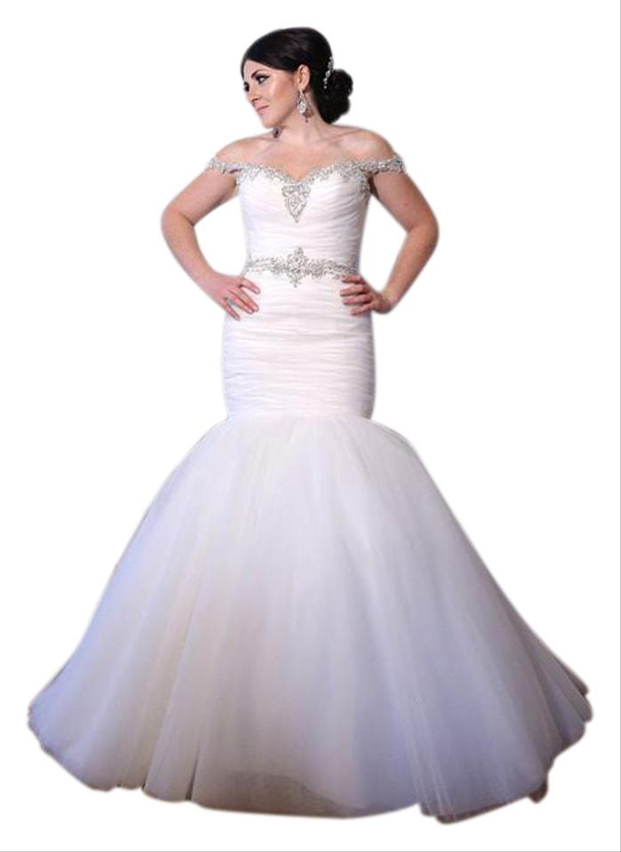 Allure Bridals White/Silver Ivory/Silver Soft Tulle Mermaid Wedding ...