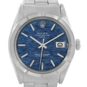 Rolex Rolex Date Mens Stainless Steel Vintage Blue Linen Dial Watch 1501