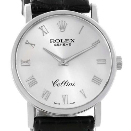 Rolex Rolex Cellini Classic 18k White Gold Silver Roman Dial Watch 5115