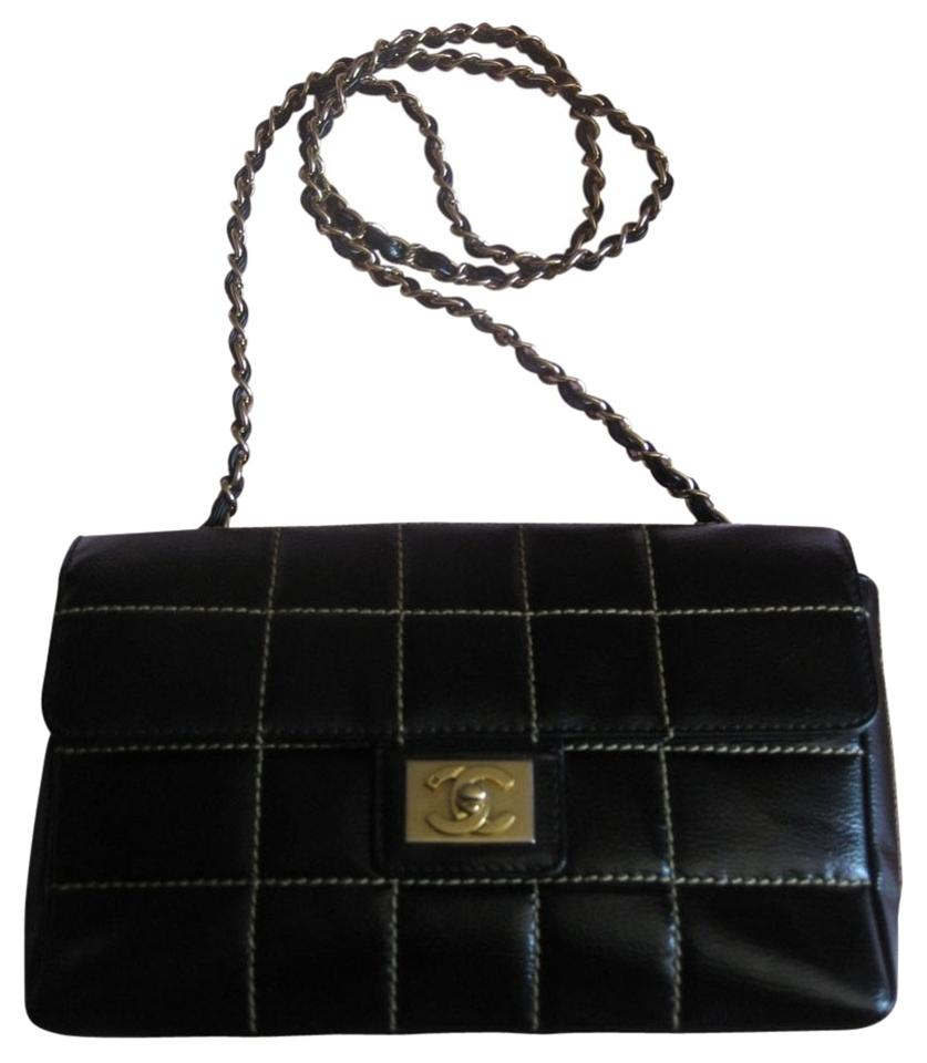 37c9c04d1bcb Chanel 2.55 Reissue Square Contrast Quilt Classic Chocolate Bar Flap Medium  Large Gold Hardware Chain Cc Logo Black Calfksin Leather Shoulder Bag