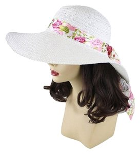 FASHIONISTA White with Floral Ribbon Beach Sun Cruise Summer Large Floppy Dressy Hat cap