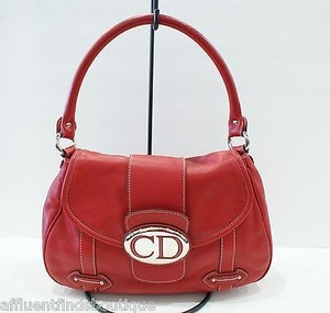 Dior Christian Leather Handbag Satchel in Red