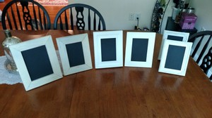 6 Assorted White Shabby Chic Chalkboard Frames