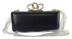 Diane von Furstenberg Evening Lizard Formal Party Wedding black Clutch
