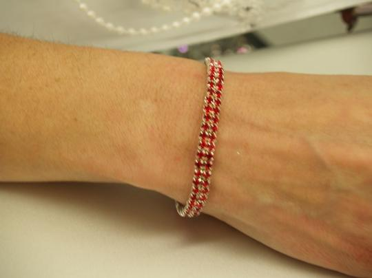 A Red Rhinestones And Silver Bracelet B23