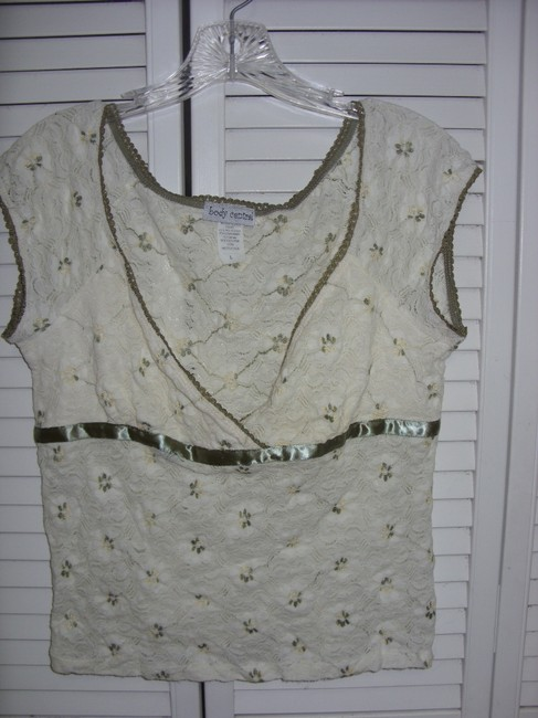 Body Central Stretch Lace Top ECRU WITH OLIVE GREEN AND YELLOW