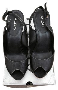 ALDO Black Leather Wedges