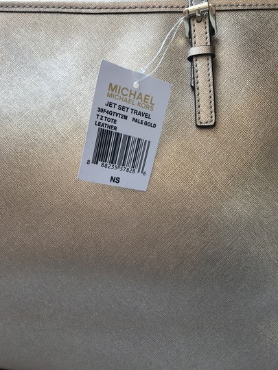 Michael Kors Jet Set Saffiano Leather Top Zip Tote in Gold
