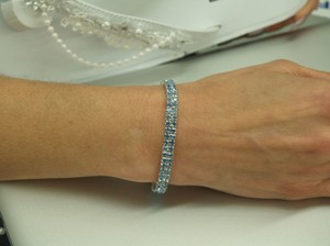 Something Blue Bracelet Two Lines Of Rhinestones B