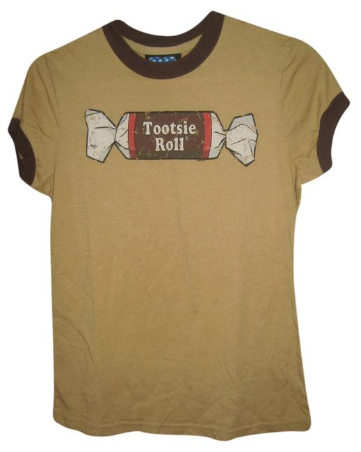 Junk Food Tootsie Roll Candy Casual Sleeves T Shirt brown