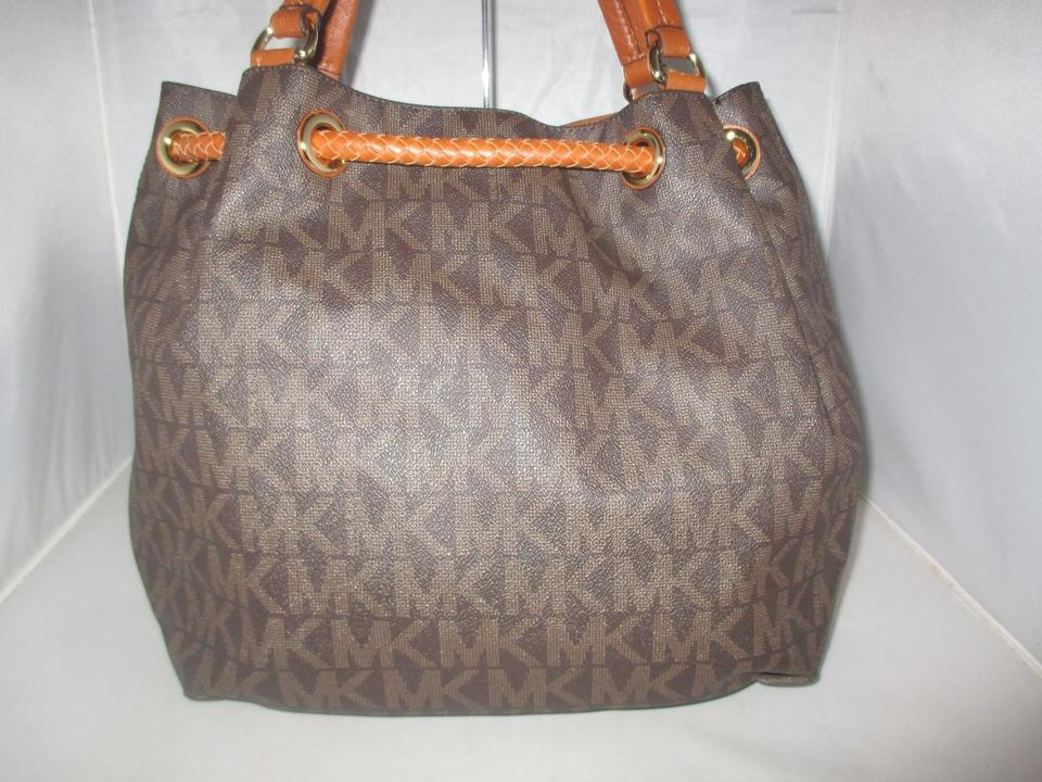 77a5b7403c38 Michael Kors Jet Set Item Large Gathered Mk Signature Brown Pvc Tote ...