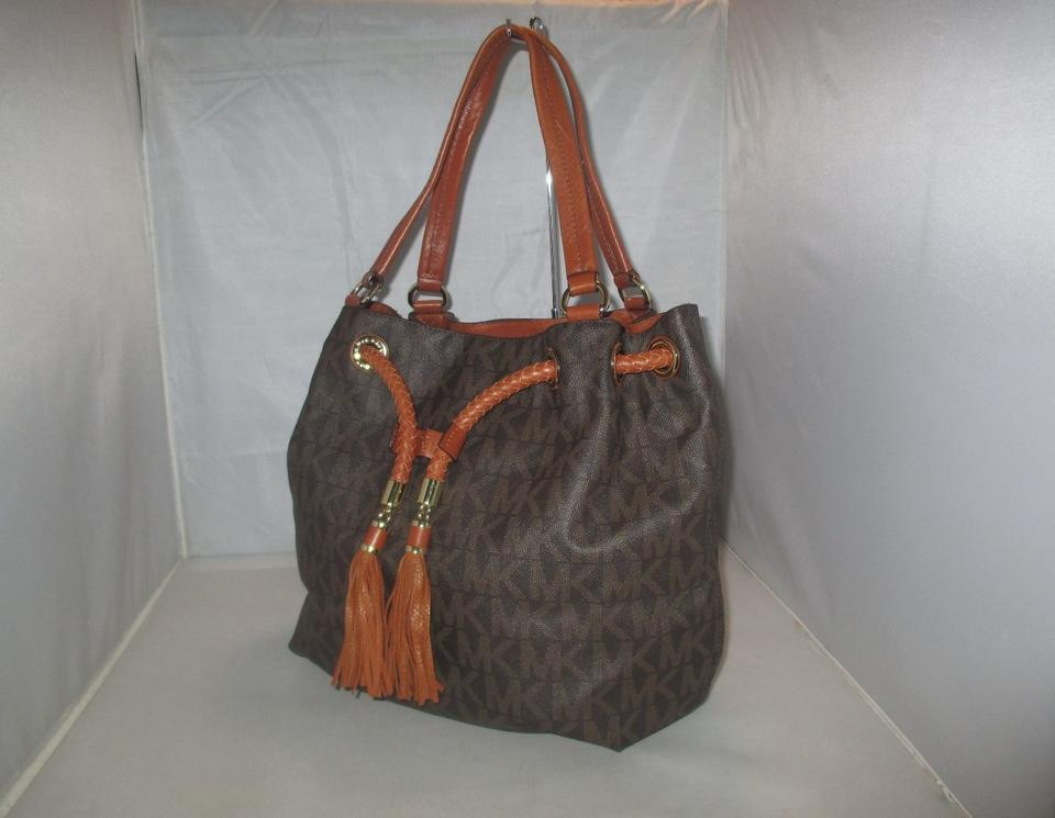 b2f53afb4822 Michael Kors Jet Set Item Large Gathered Mk Signature Brown Pvc Tote ...