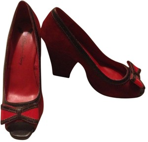 Penny Loves Kenny Faux Suede Red Pumps