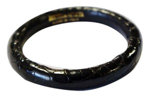 Bottega Veneta BOTTEGA VENETA BLACK BRAIDED EMBOSSED LEATHER THIN BANGLE BRACELET RARE UNISEX