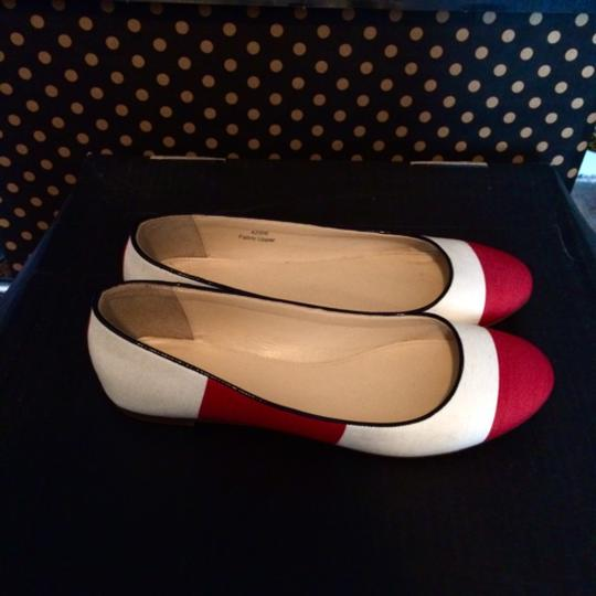 J.Crew Red and Ivory Flats