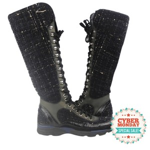 Chanel Tweed High Sneaker Sneaker Knee Sneakers Black Boots