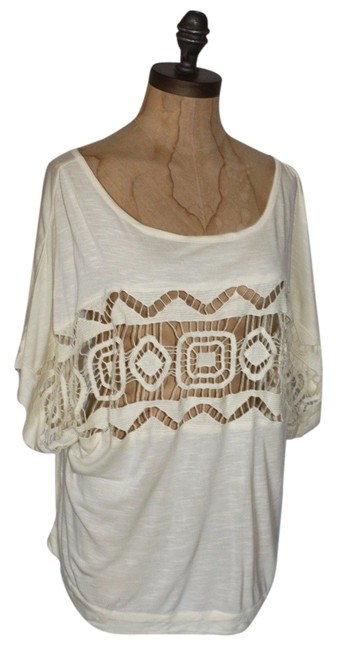 Anthropologie Lace Trim Oversized Relaxed Top IVORY