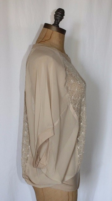 Anthropologie Sheer Willow & Clay Boxy Relaxed Fit Top BEIGE