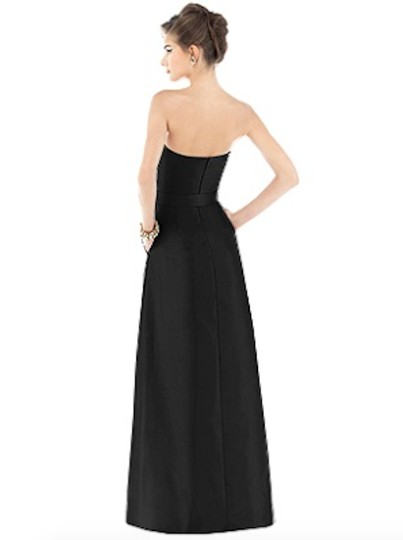 Alfred Sung Black Dupioni Silk Dessy Collection D537 Formal Dress Size 6 (S)