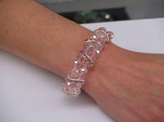 Preload https://item4.tradesy.com/images/pinksilver-faceated-glass-beads-rhinestones-bracelet-47098-0-0.jpg?width=440&height=440