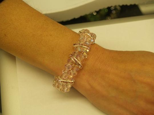 Pink/Silver Faceated Glass Beads / Rhinestones Bracelet