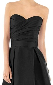 Alfred Sung Black Dupioni Silk Dessy Collection D537 Formal Dress Size 4 (S)