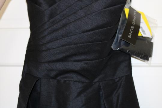 Alfred Sung Black Dupioni Silk Dessy Collection D537 Formal Bridesmaid/Mob Dress Size 4 (S)