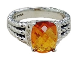 David Yurman DAVID YURMAN STERLING SILVER 10x8mm PETITE WHEATON CITRINE & DIAMOND RING 6.5