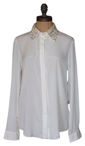 Anthropologie Button Down Shirt Embellished Button Down Shirt IVORY