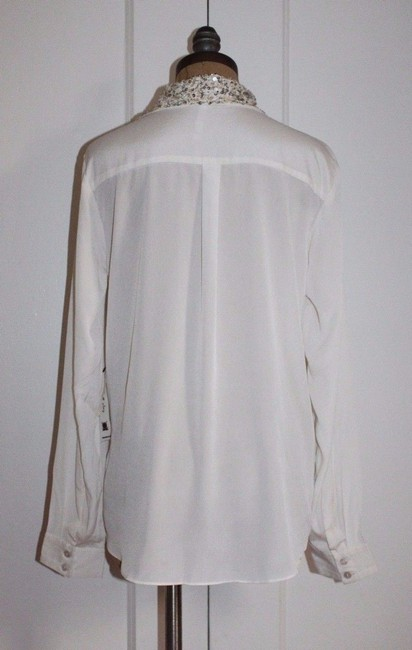 Anthropologie Shirt Embellished Button Down Shirt IVORY