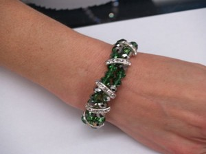 Dark Green Faceated Glass Beads Bracelet B27